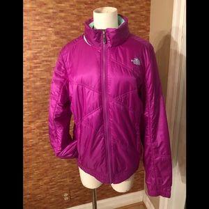 North face fuchsia nylon jacket. Size Large
